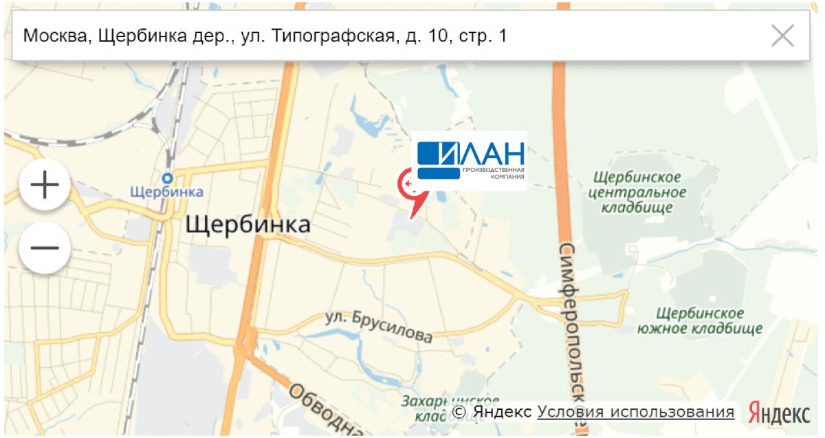 Наше месторасположение на картах Яндекса