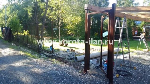 МО_Одинцовский район_СНТ Дубки_каркас откатных ворот и калитки