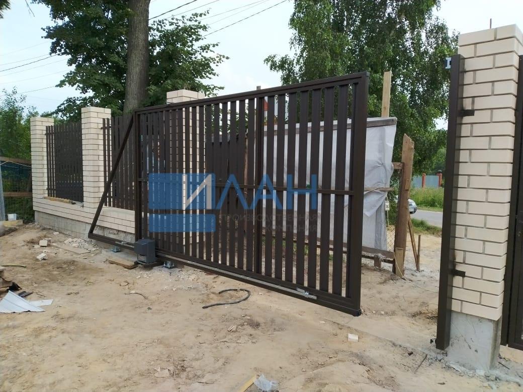 Ворота откатные (каркас) и каркас калитки с автоматикой Came BX608_деревня Никулино_фото 4