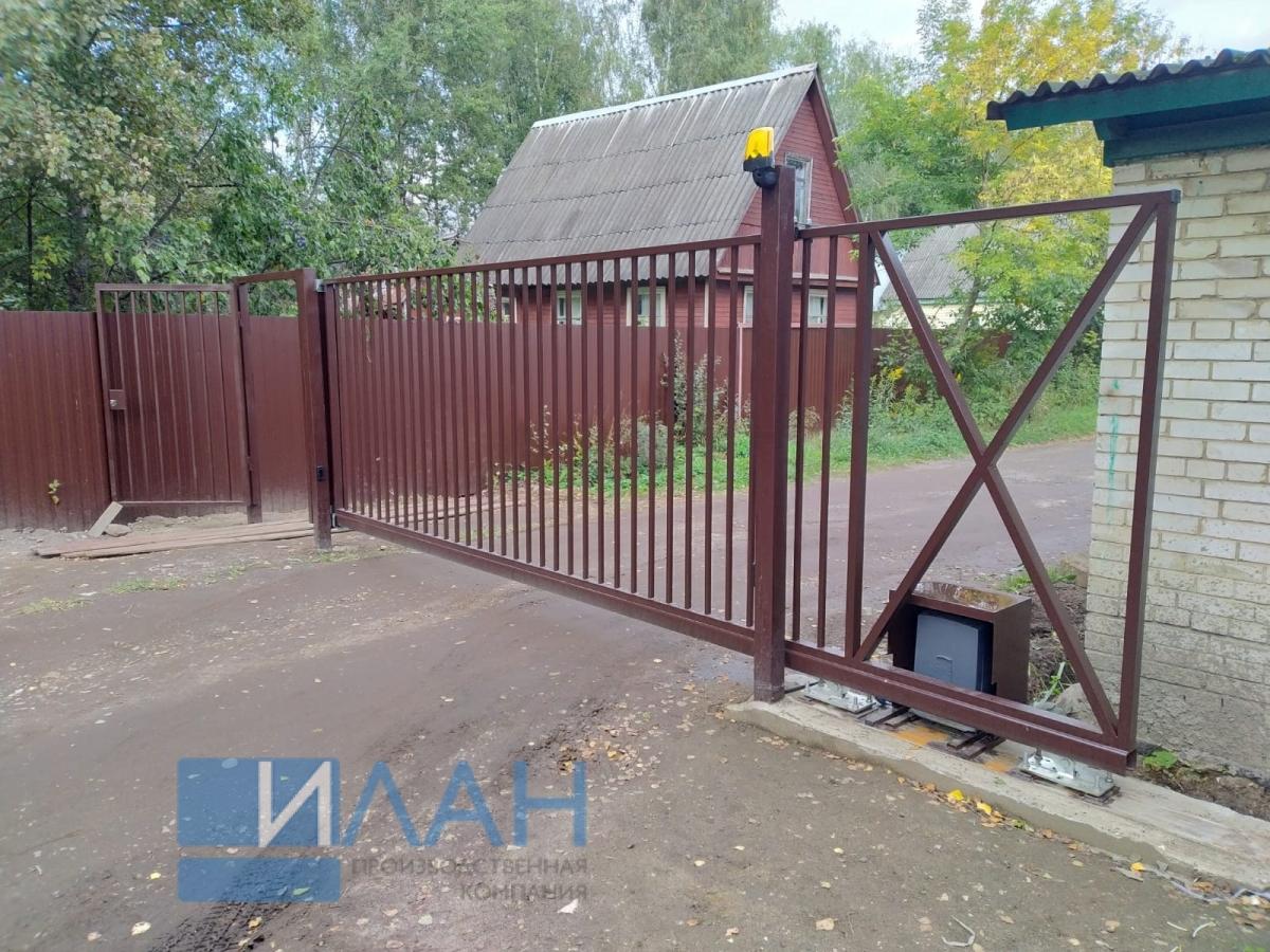 Автоматические ворота промышленного класса с высокоскоростным приводом CAME BXV10AGF, установленные на групповом въезде на территорию 11 СНТ в Раменском районе Московской Области с общим кол-вом участков более 1100_фото 4