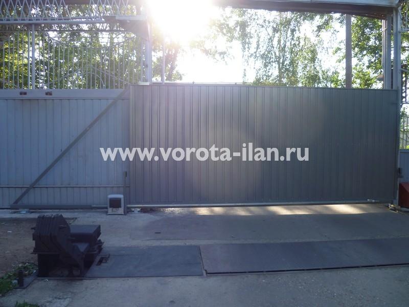 Ворота откатные серые_фото 1
