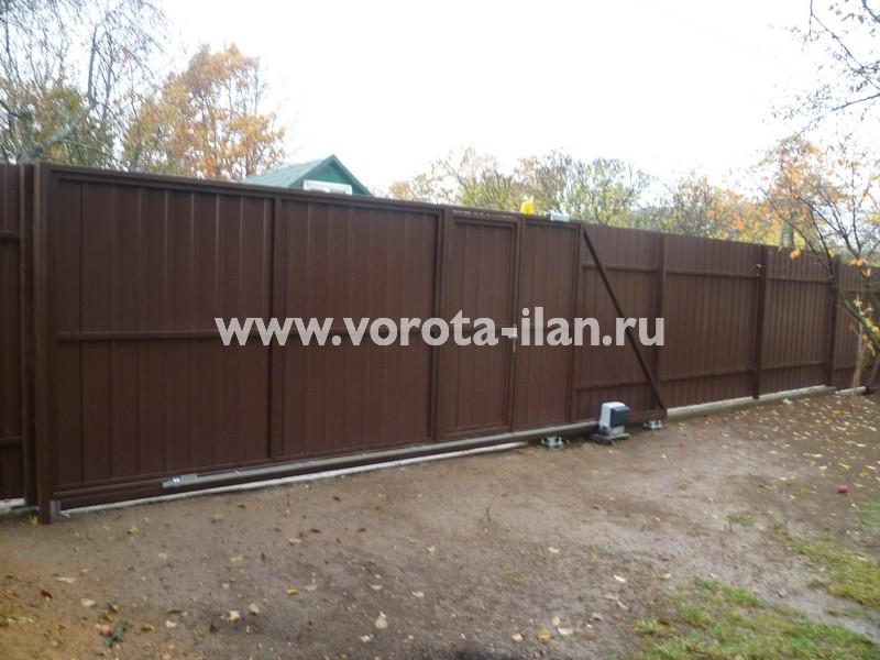Ворота откатные профлист коричневый_фото 3