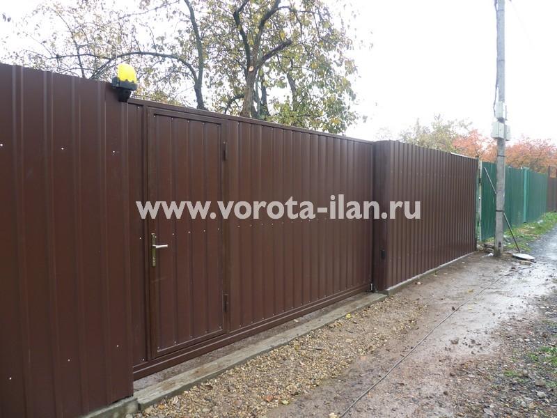 Ворота откатные профлист коричневый_фото 2