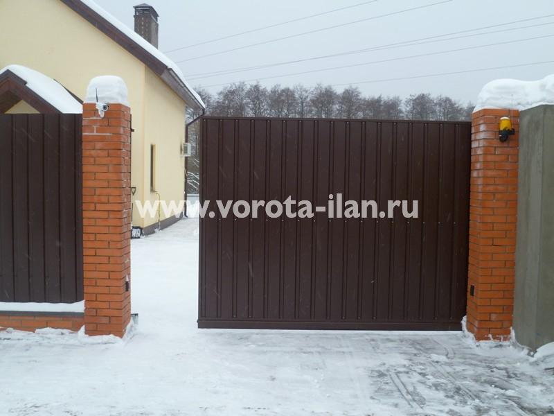 ворота откатные тёмно-коричневые_фото 3