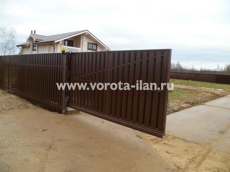 Ворота откатные_комбинированная обшивка_фото 8