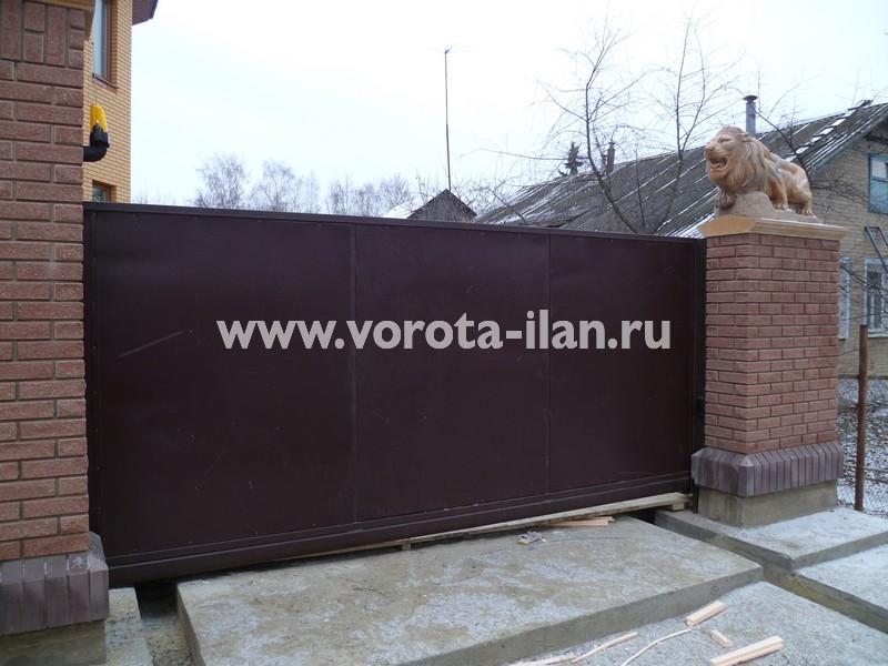 Ворота откатные, зашитые коричневым профлистом_фото 4