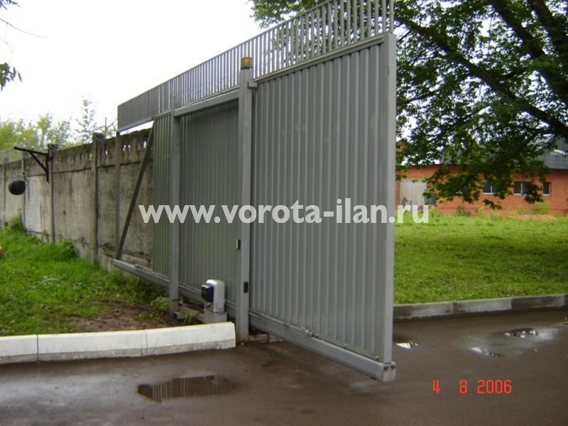Ворота откатные_нижняя консоль_профлист серый_фото 3