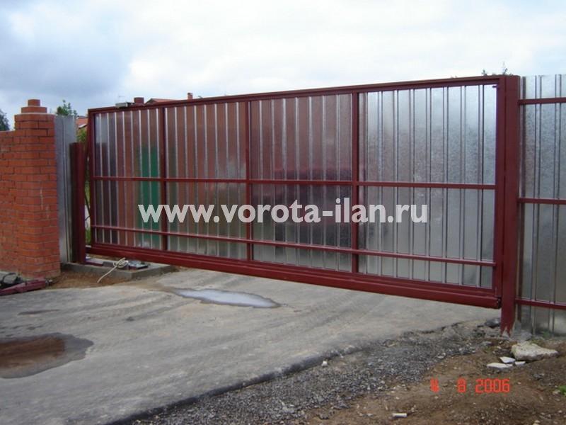 Ворота откатные_нижняя консоль_профлист серебро_фото 3