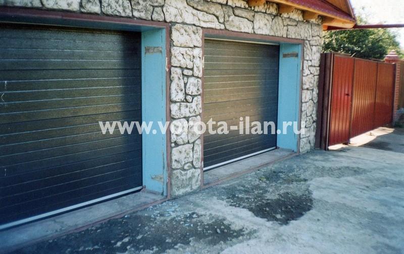 Ворота секционные гаражные_двойные тёмные