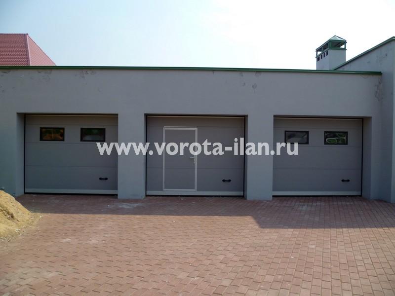 Ворота секционные гаражные_серые_фото 1
