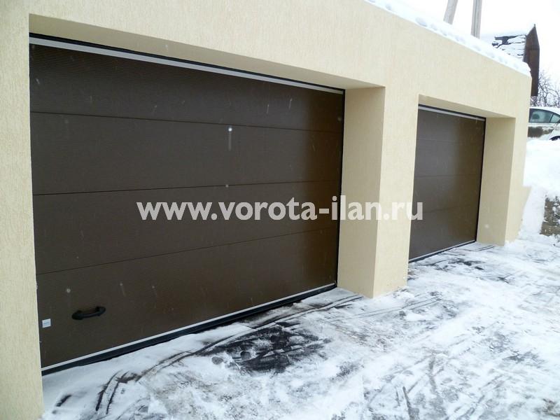 Ворота секционные гаражные_тёмно-коричневые_фото 1