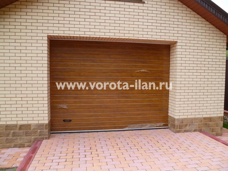 Ворота секционные гаражные_светло-коричневые_фото 2